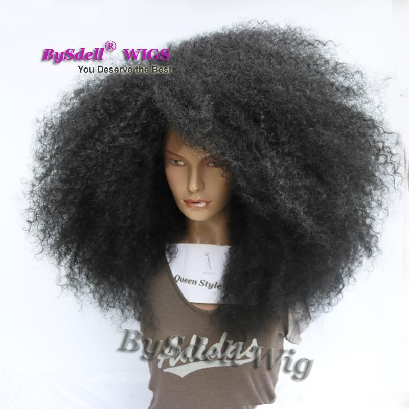 Premium Big Afro crépus bouclés perruque de cheveux perruque avant de dentelle synthétique bouclés devrait longueur crépus bouclés femme noire pleine dentelle avant perruques