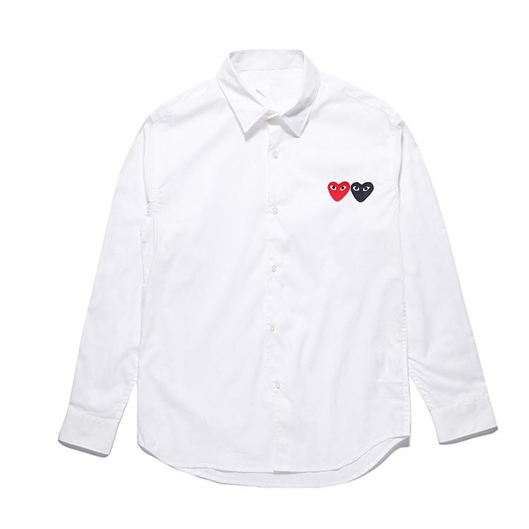 3a62c6618d6ce 2019 Designer Polo Shirts Men COMMES PLAY HOLIDAY Clothing OFF Long Sleeve Shirt  Des Garcons Women Cotton White Double Heart Cardigan Pablo Shirt From ...