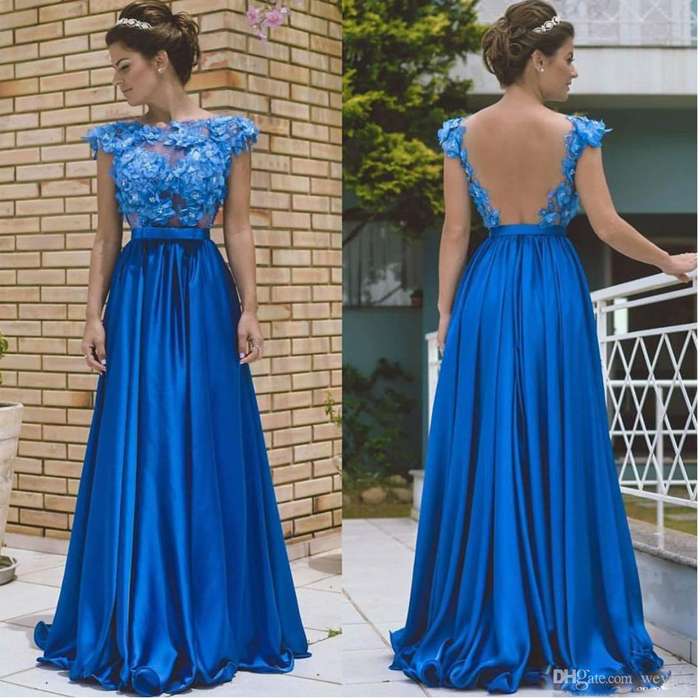 Cheap Royal Blue A Line Prom Dresses Jewel Neck Illusion Back with Bow Evening Wear Satin Floor Length Vestidos De Fiesta