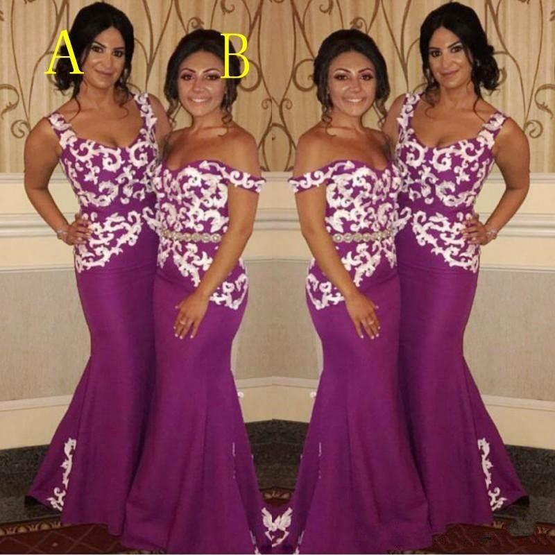 f2dd8e9d216 2018 Plum Purple Long Mermaid Bridesmaid Dresses Off Shoulder White Lace  Appliques Satin Wedding Guest Dress Plus Size Maid Of Honor Gowns Bridesmaid  Maxi ...