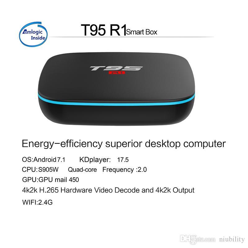 Cheapest T95 R1 Quad Core Amlogic S905W 1GB 8GB or 2GB 16GB Android 7 1 TV  Box Arabic IPTV Streaming Media Player by niubility