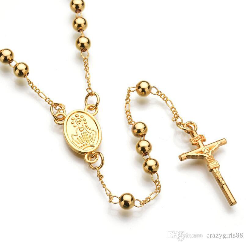Wholesale New Hip Hop Jewelry Gold Silver Catholic Rosary Pray Beads