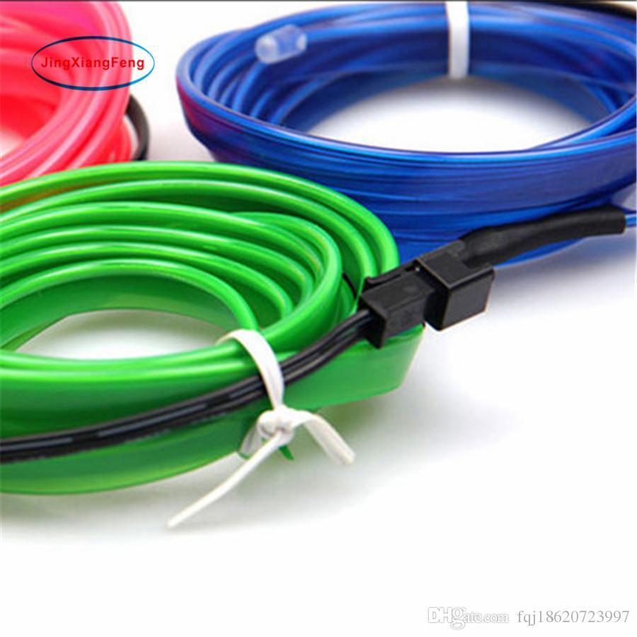 3M DIY Decoration 12V Auto Car Interior LED EL Wire Rope Tube Neon ...