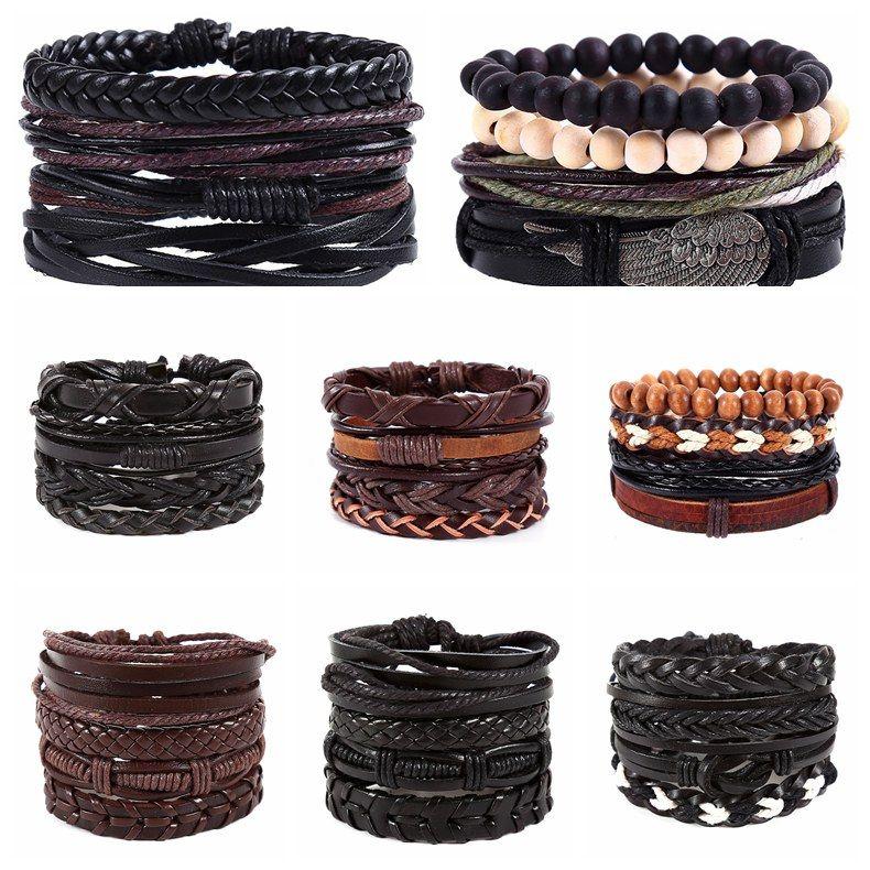 Großhandel Neue Ankunft Männer Vintage Kombiniert Echtleder Armband ...