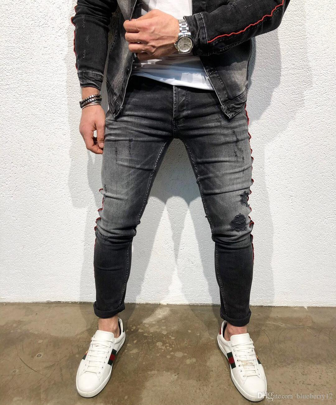 60177ab0 2019 High Street Mens Washed Jeans New Pencil Denim Pants For Male Ripped  Motor Pants From Blueberry12, $39.6 | DHgate.Com