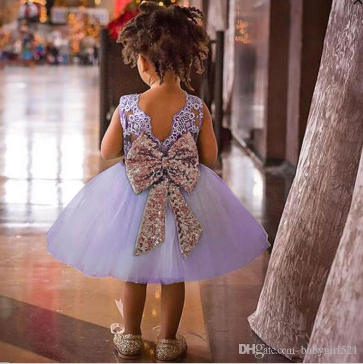 971e3df2ae142 Cute Lavender Lace Tulle Flower Girl Dresses With Sequins Bowknot  Sleeveless Mint Green White Cheap Kids Bridesmaid Gowns For Wedding Party Flower  Girl ...