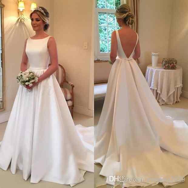Discount Elegant White Satin Wedding Dresses Jewel