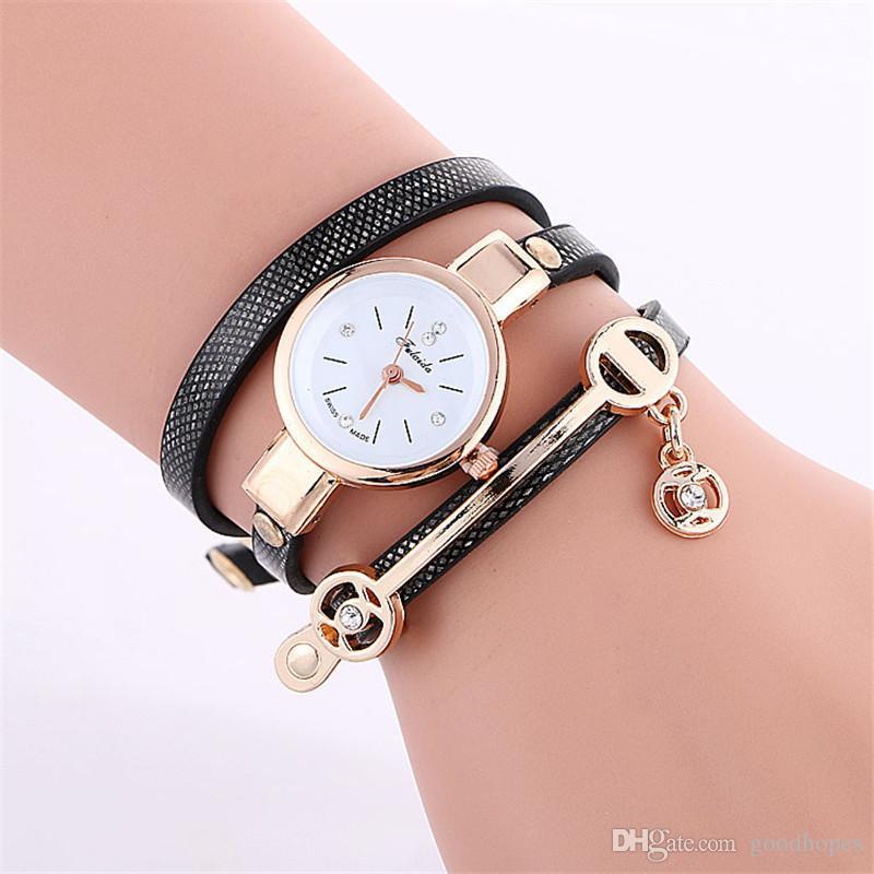 0dd92c99d Luxury Vintage Watch PU Leather Strap Quartz Analog Wristwatches Bracelet  Women Girl Casual Dress Watch Fashion Imitation Diamond Bangle Online Wrist  Watch ...