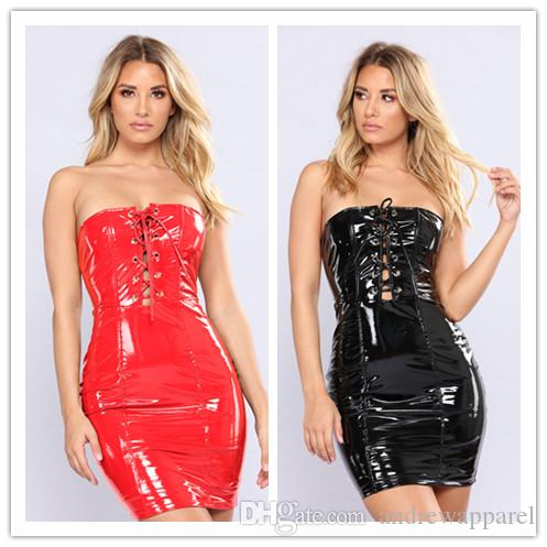 ca786511afc9 2019 Club Wear Leather Mini Skirt Sexy Lingerie Catsuit Latex PVC Costume  Leather Bodysuit Sexy Game Plus Size Jumpsuit Dancing Clothing GC892 From  ...