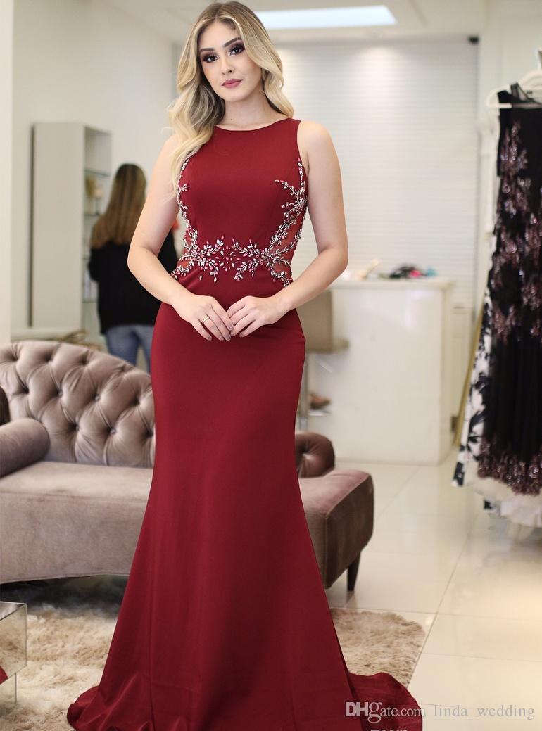 2019 árabe Borgoña vestido de noche sirena larga sin mangas formal de vacaciones Celebrity Wear vestido de fiesta de graduación por encargo más tamaño