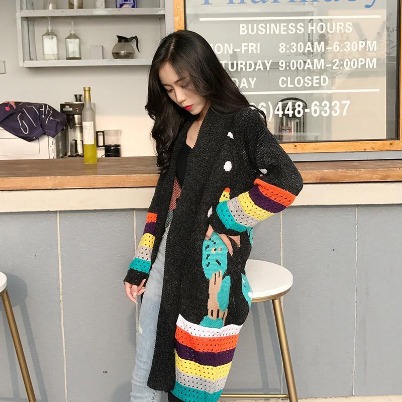 Compre Punto Cardigan Largo Suéter De Las Mujeres Gris Negro Lindo De Manga  Larga Con Cuello Redondo Abrigo Mujeres 2018 Otoño Crochet Superior  Femenino A ... caaa0de5e495