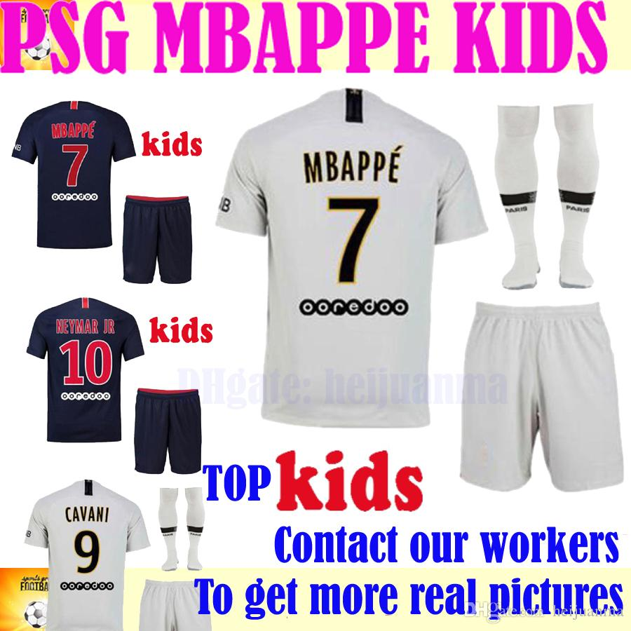 4cb712c3584cdb 2019 MBAPPE Kids Kit PSG Home Away Soccer Sets CAVANI Verratti 2018 2019  Seasons Paris Saint Germain Boys Child Jersey From Heijuanma
