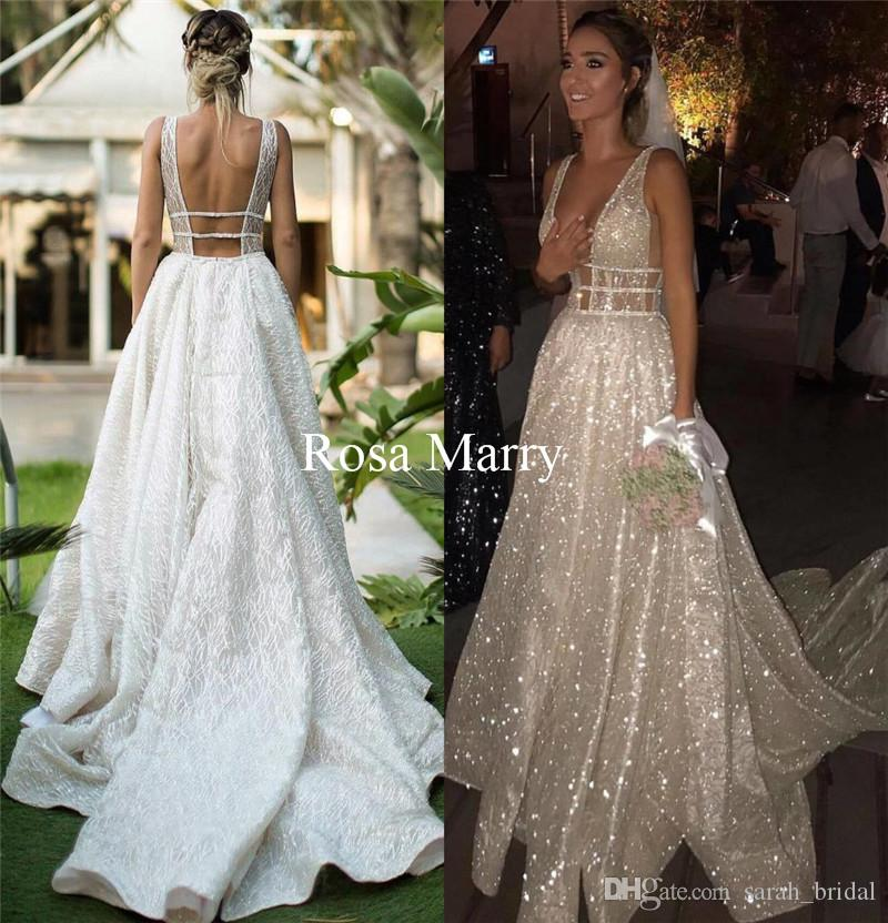Glitter Wedding Gowns: Discount Sparkly Plus Size Country Wedding Dresses 2018