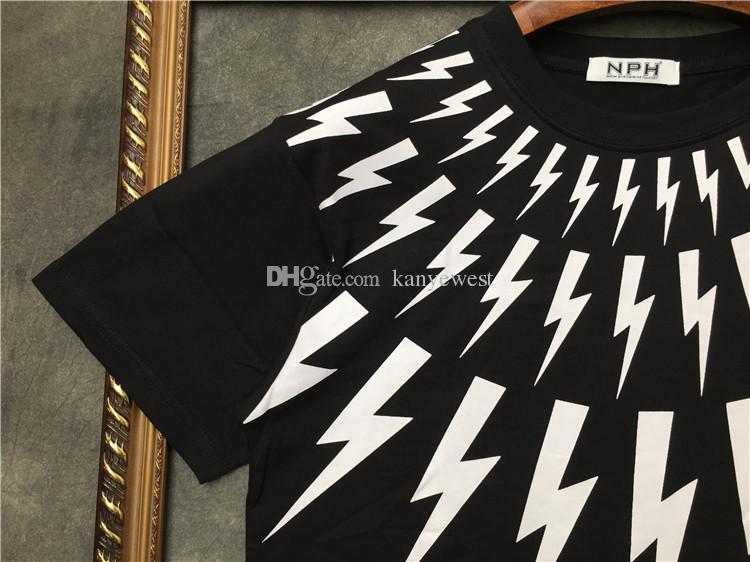 2019 yeni yaz erkekler Marka Yaka beyaz yıldırım baskı kısa kollu t-shirt Tasarımcı tişört Camisetas t shirt unsex pamuk tee tops