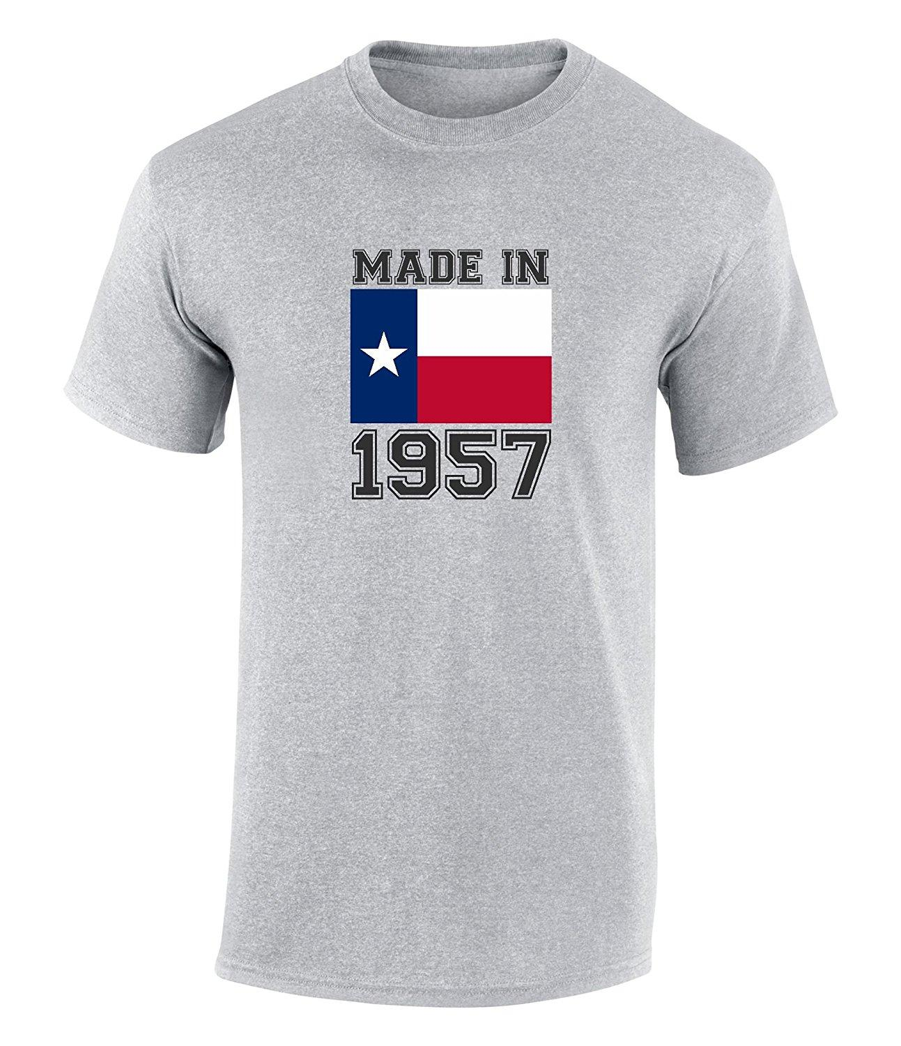 Happy 60th Birthday Gift T Shirt With Made In Texas 1957 Graphic Print Novelty Cool Tops Men Short Sleeve Tshirt 24 Hours Buy Shirts Online