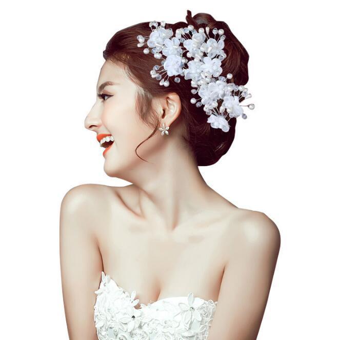 Красивый белый Свадебные заставки Pearl Шпильки Цветочный Кристалл Rhinestone заколки для волос Зажимы Pearls невесты волосы женщины ювелирные изделия ClipPin