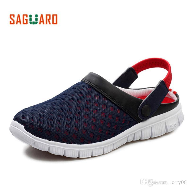 d17cdc58a5b1 SAGUARO Summer Men Slippers Shoes 2018 Fashion Mesh Slippers Unisex Beach Sandals  Casual Flat Slip On Flip Flops Zapatos Hombre Chaco Sandals Jack Rogers ...