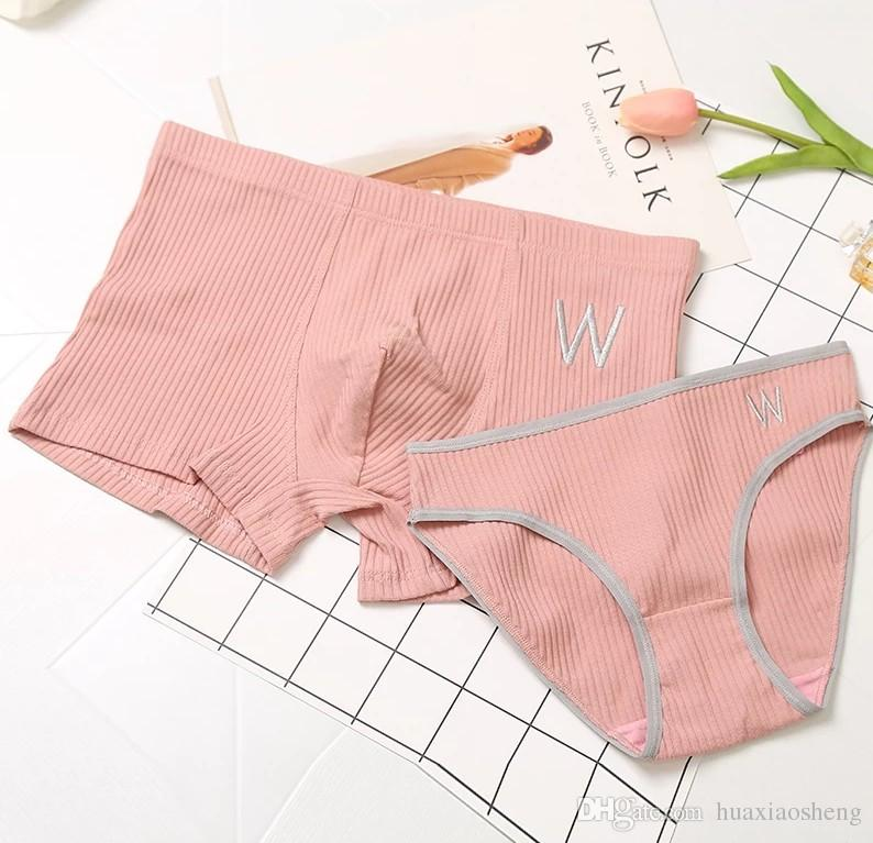 085dcdff7c Cotton Thread Elastic Close Fitting Couple Underwear Set Solid Color Cotton  Embroidery Underwear Men And Women Boxer Briefs UK 2019 From Huaxiaosheng