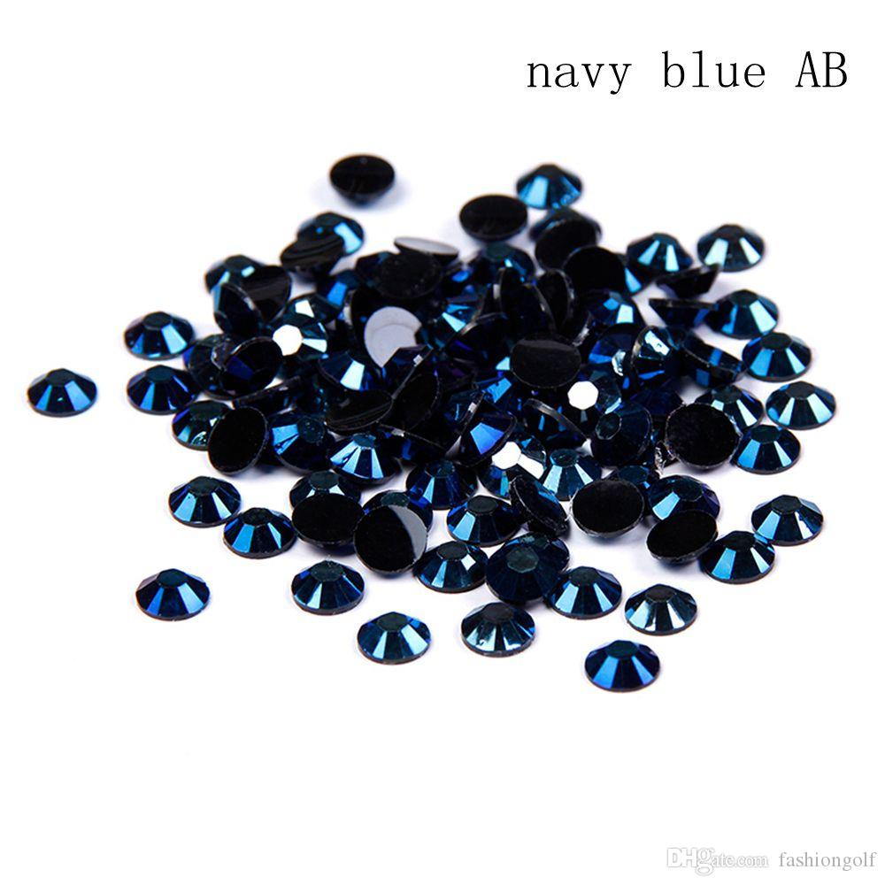 85d60708ed8a New Arrive Non Hotfix Resin Rhinestones 2 5mm And Mixed Sizes Navy Blue AB  Round Flatback Glue On Stones DIY Nails Garments Nails Decorations Nail  Foils Uk ...