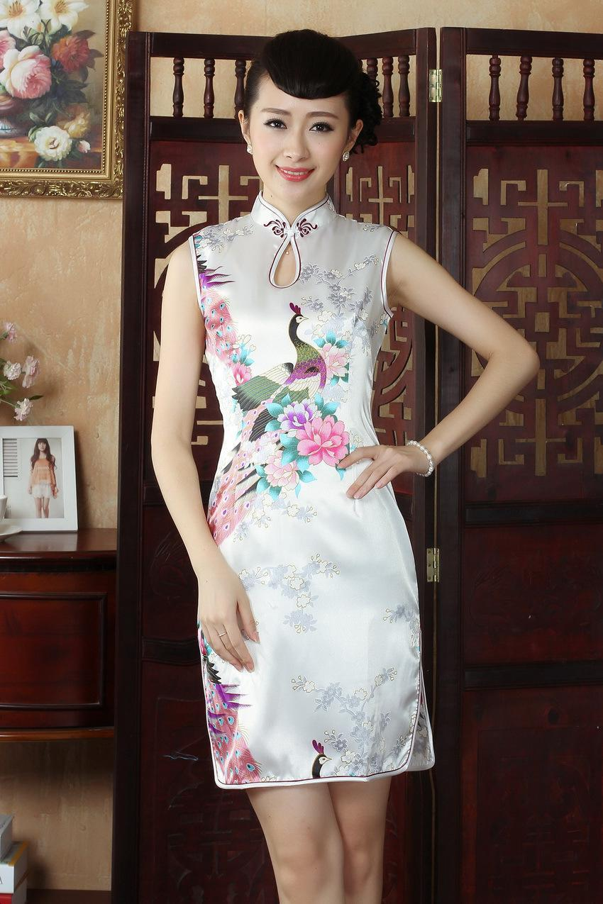 Shanghai Story nouvelle arrivée à la mode Qipao soie robe cheongsam sans manches robe chinoise Qipao 5 couleur J5145