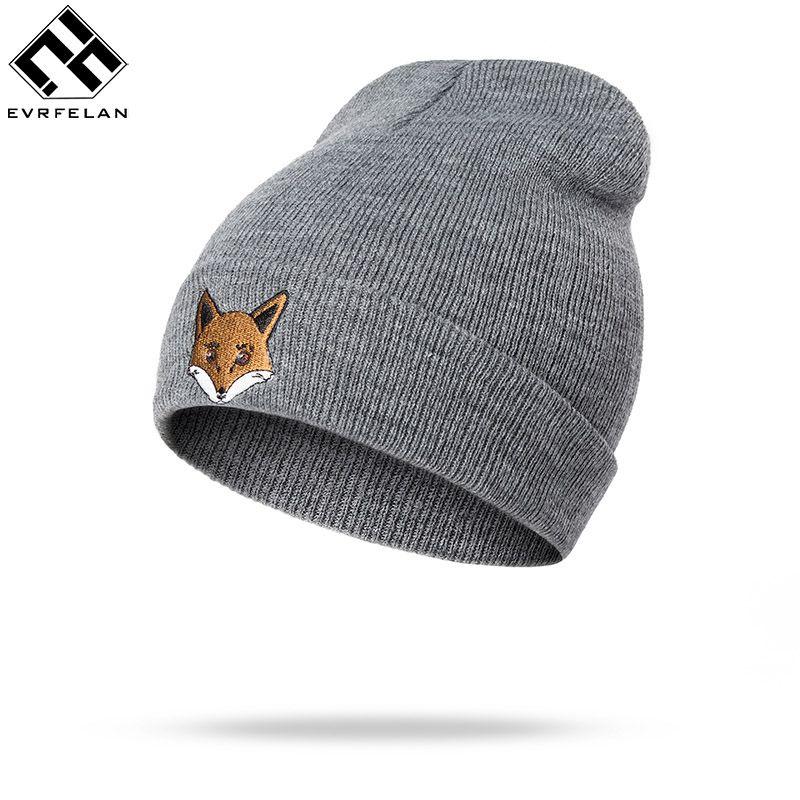 e8913af34 Evrfelan Brand Fox Hat Women Knitted Winter Beanies Pure Solid Cotton  Winter Hats Men Lovely Cat&Fox Hat Beanies