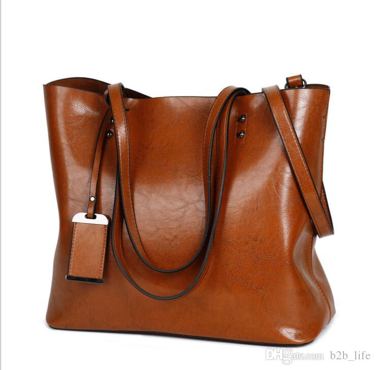 71608fda4e16 Fashion Women Handbag PU Oil Wax Leather Women Bag Large Capacity Tote Bag  Big Ladies Shoulder Bags LJJK915 Online Girls Bags Side Purse For Girls  From ...