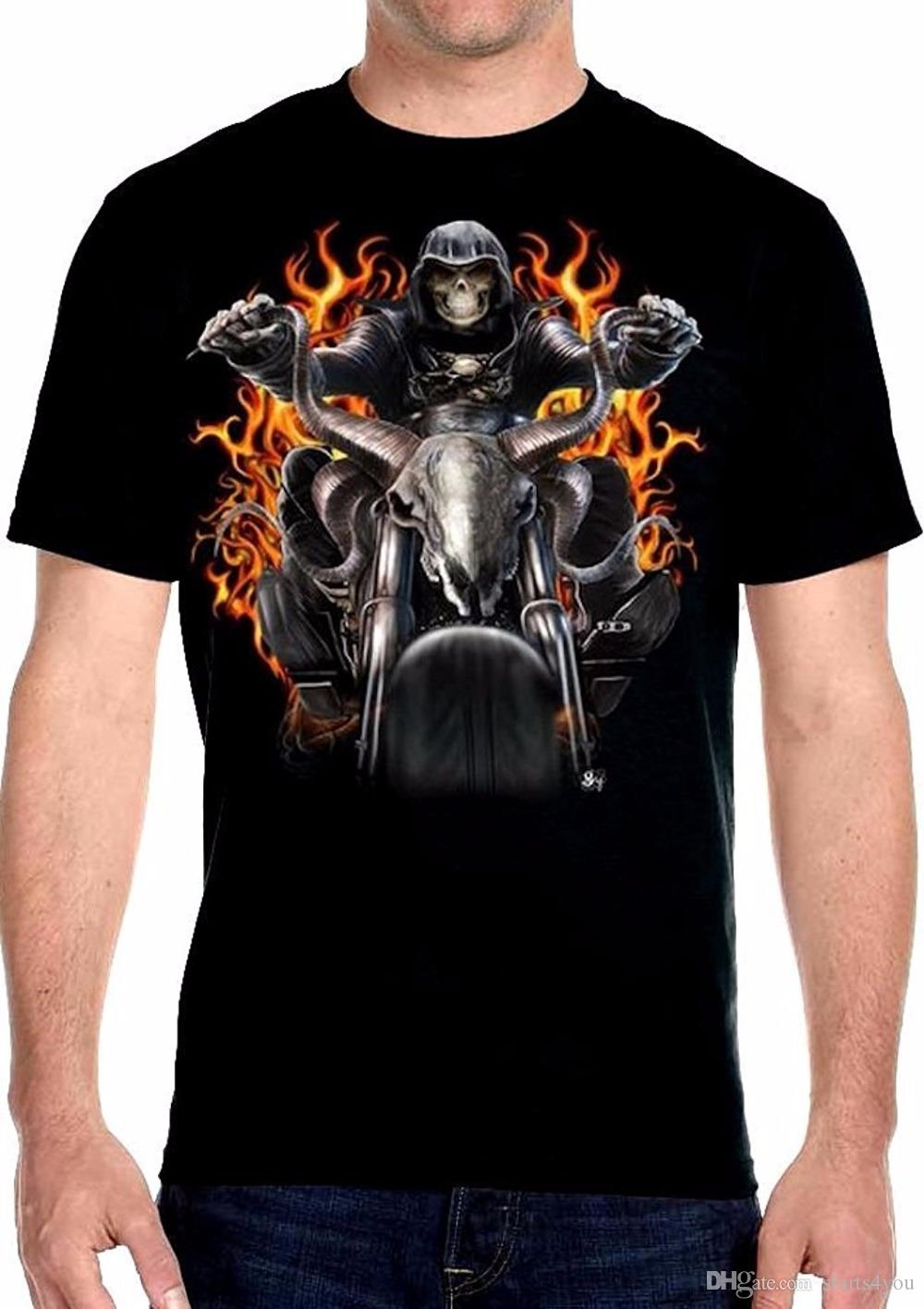 9f1a90c8 Cool Tee Shirt Designs Men's Men's Grim Reaper Riding Moto Flames Biker T- Shirt O-Neck Short Sleeve Regular Tee Shirt