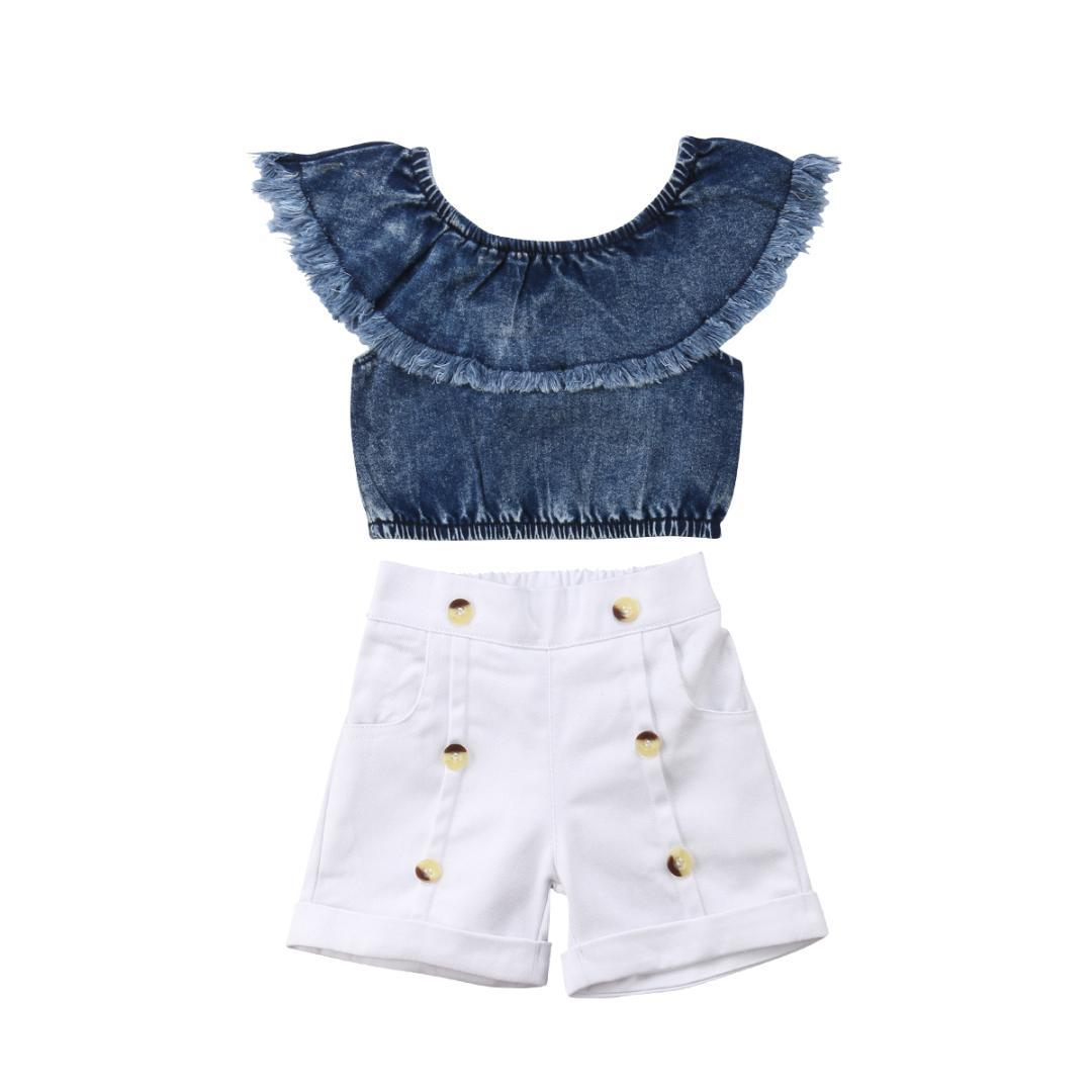 d4d635d85e 2019 Kids Toddler Baby Girl Clothing Set Off Shoulder T Shirt Denim Top  Shorts Cotton Outfits Clothes Summer 1 6T From Entent