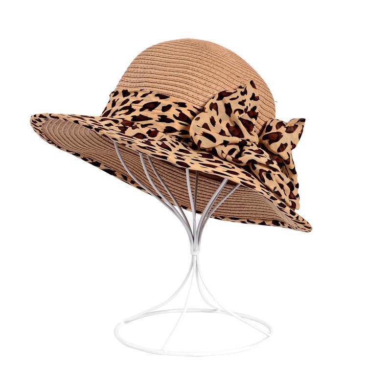 Compre Sombrero De Paja De Protección Solar Con Arco Leopardo Sombrero De  Sombrilla De Corea Sombreros De Paja De Ala Grande Sombreros De Sol De  Playa Para ... ae9574c8b85