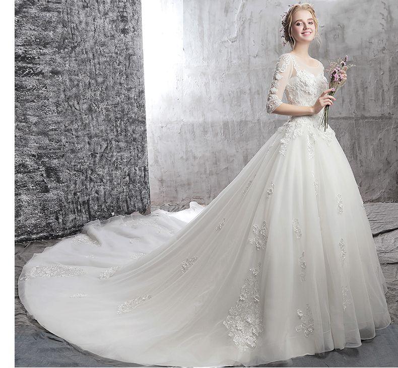Qualität Weiß Brautkleider Schulter Ärmel Spitze Neue Frühling In Der Hinteren Dreidimensionalen Applique Nail Bead Kirche Brautkleider