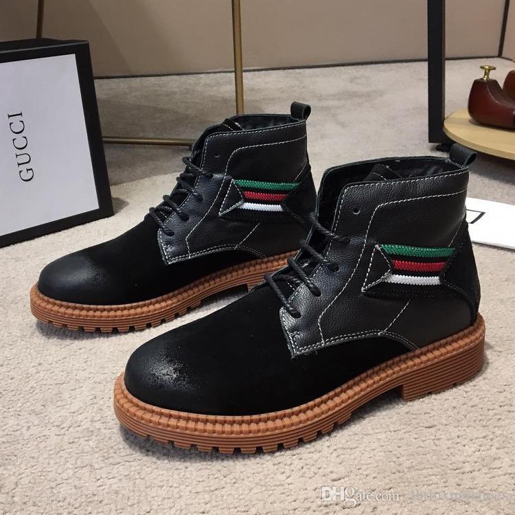 c3be3cddb8368 Compre Nuevo 2018 Senderismo Botas Moda Hombre Zapatos Scarpe Da Uomo  Invernali Tela De Cuero Western Cowboy Boots Caja Original Con Cordones  Calzado ...
