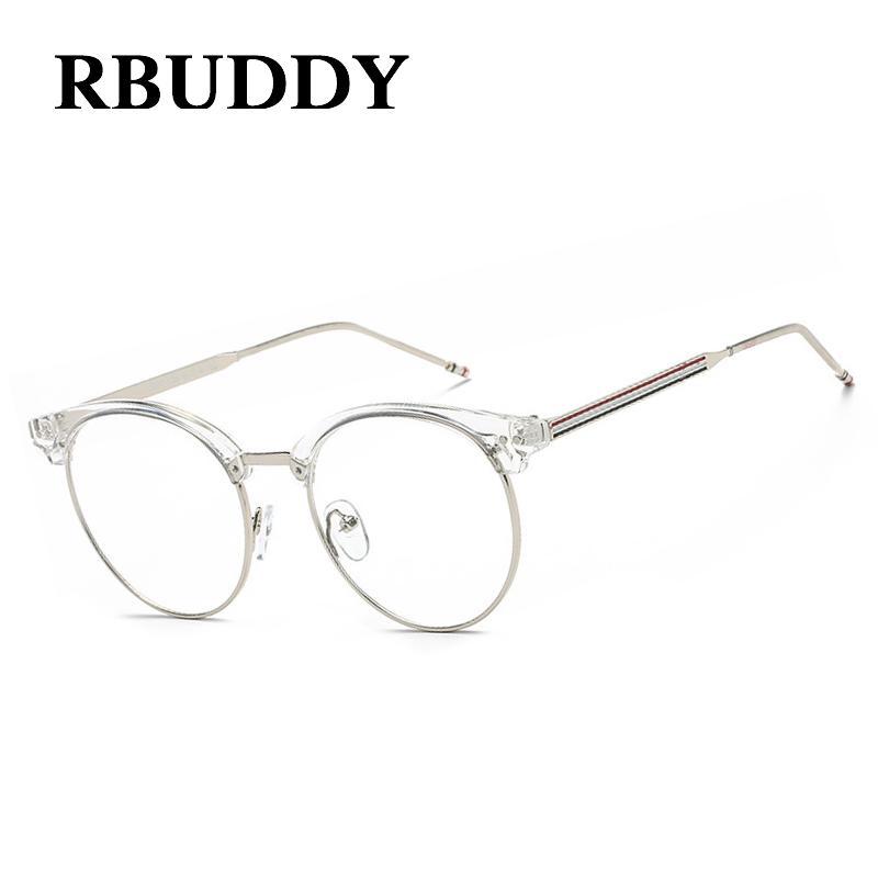 9f02c0de63652 2019 RBUDDY Clear Glasses Frame Alloy Striped Computer Glasses Fake Clear  Lens Transparent Half Metal Eyeglasses For Women Men 2017 From Henrye