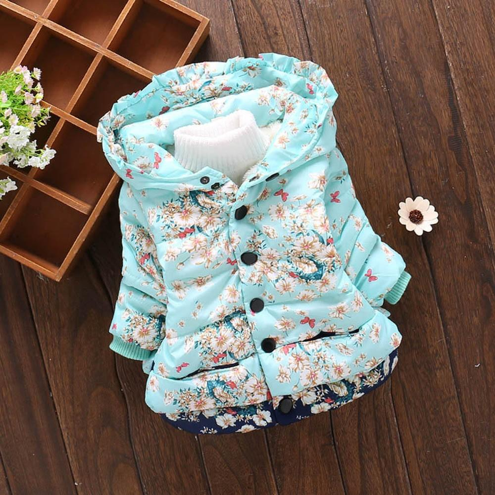 3e9e9a1a9 MUQGEW Toddler Baby Girl Boy Floral Print Winter Warm Jacket Hooded ...