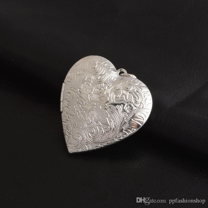 Bijoux en argent pendentif Fine Fashion boîte en forme de coeur pendentif 925 bijoux en argent plaqué collier Pendentifs Mode cadeau collier Top Quality