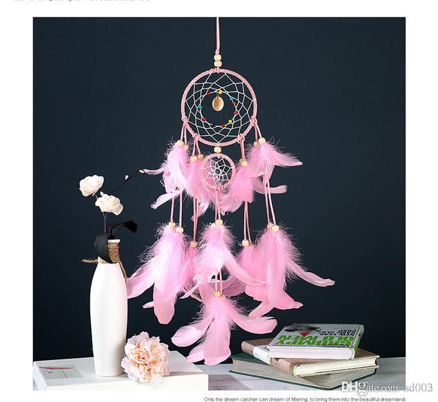 Acquista Manuale Arti Mestieri Pink Feather Net Dream Catcher