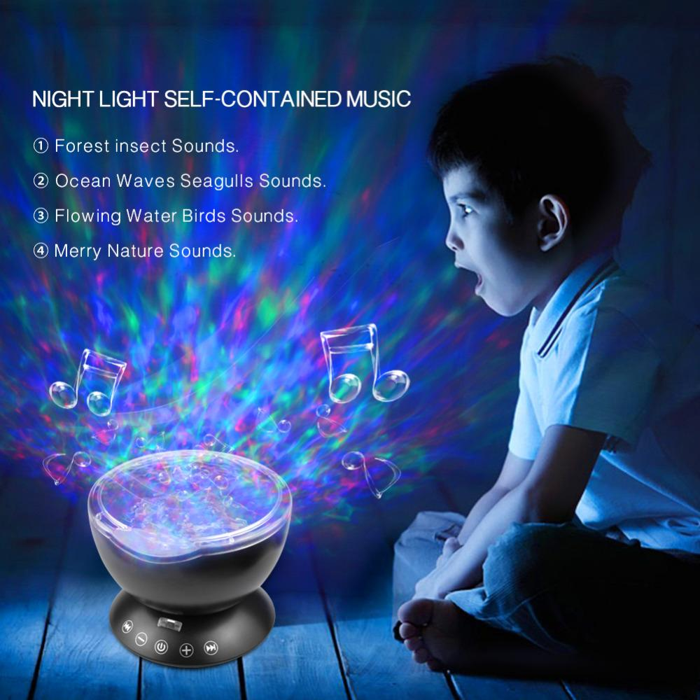 USB Night Light Multicolor Romantic Ocean Wave Starry Sky Aurora Projector  with Mini Music LED Lamp
