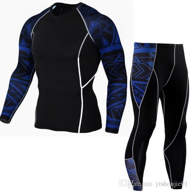 Brand Compression Sports Suit Men Camouflage T-Shirt+Tights Training Tracksuit Elastic Gym Leggings Fitness Running Sets 01