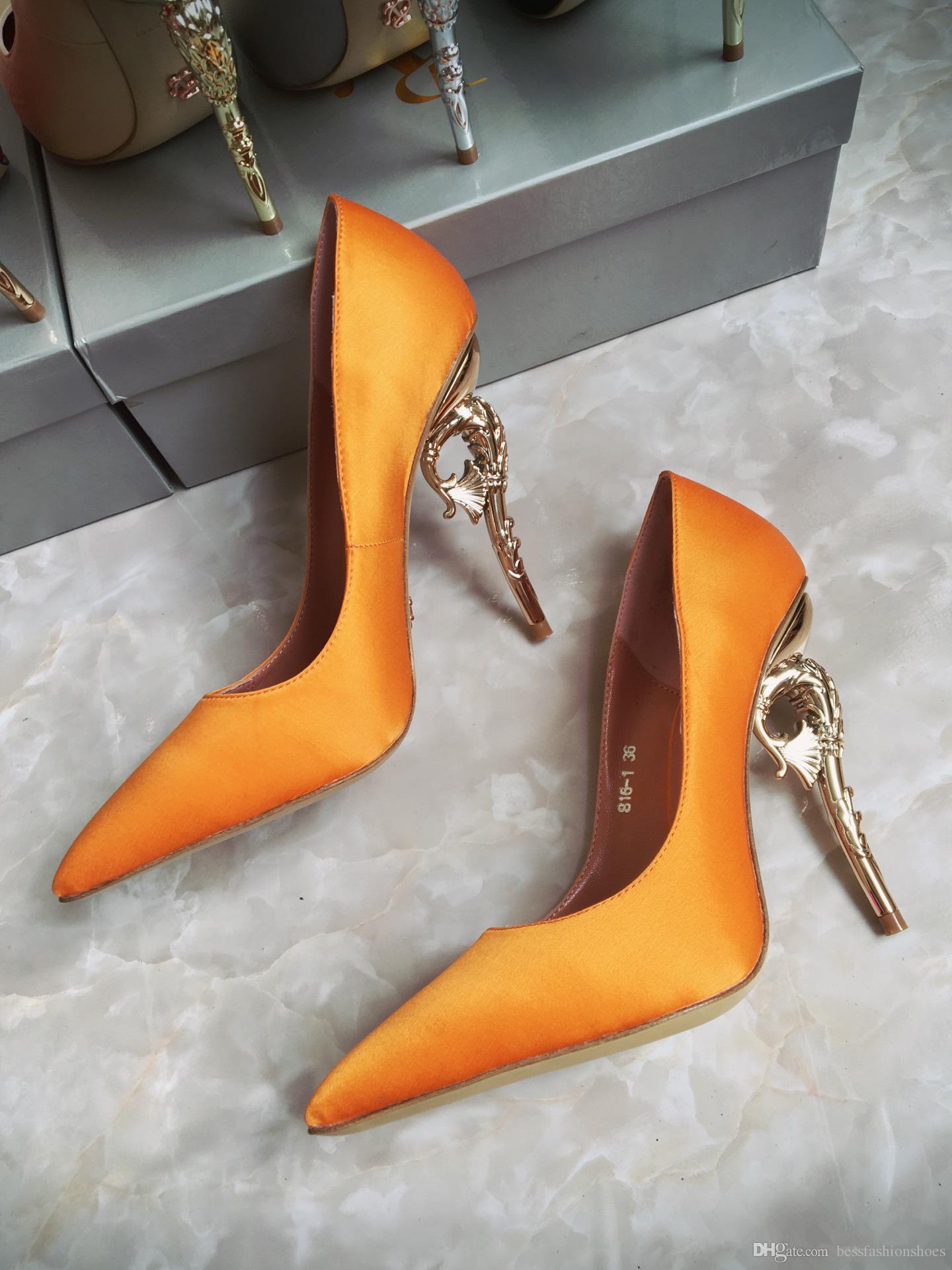 Ральф Руссо Haute Couture коллекция обуви синий атлас барокко насосы изумрудный атлас с желтым золотом каблук свадебные туфли для современных невест