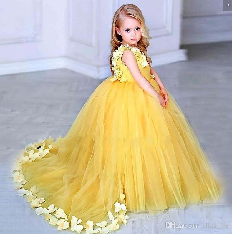 05c0a6d69fa Yellow Ball Gown Flower Girls Dresses V Neck Handmade Appliques Petals  Tulle Kids Birthday Party Dress Custom Made First Communion Gowns Flower  Girl Dresses ...
