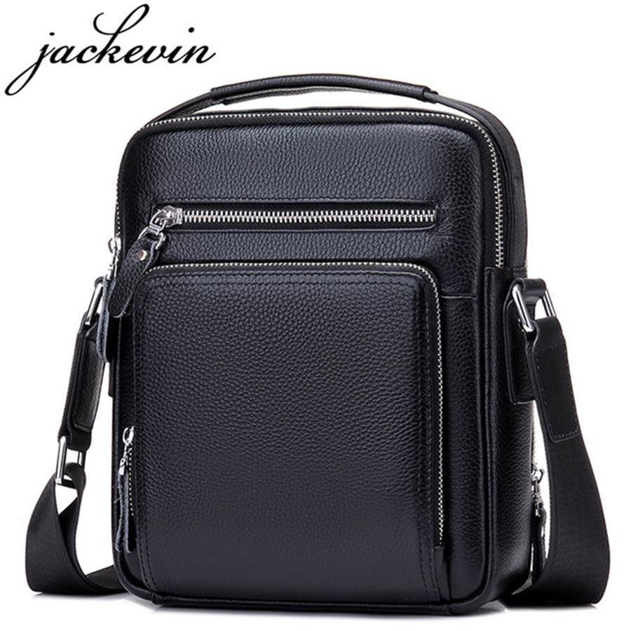 a0ae7316294f JACKKEVIN Top Quality 100% Genuine Leather Bag Men iPad Tabelt Cowskin  Crossbody Bag Men s Handbags   Messenger Bags for Gift