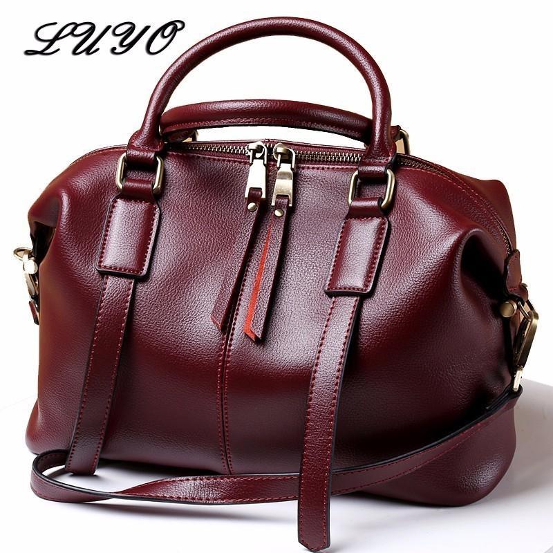e56e983fe2 LUYO Natural Cowhide Leather Handbags Fashion Women Boston Genuine Leather  Vintage Shoulder Messenger Bags Female Laptop Tote Ladies Purse Crossbody  Purses ...