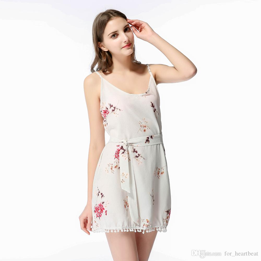 Floral dresses printed seaside holiday dress sling bohemian V-Neck cute breathable summer clothes sexyBlack Red White