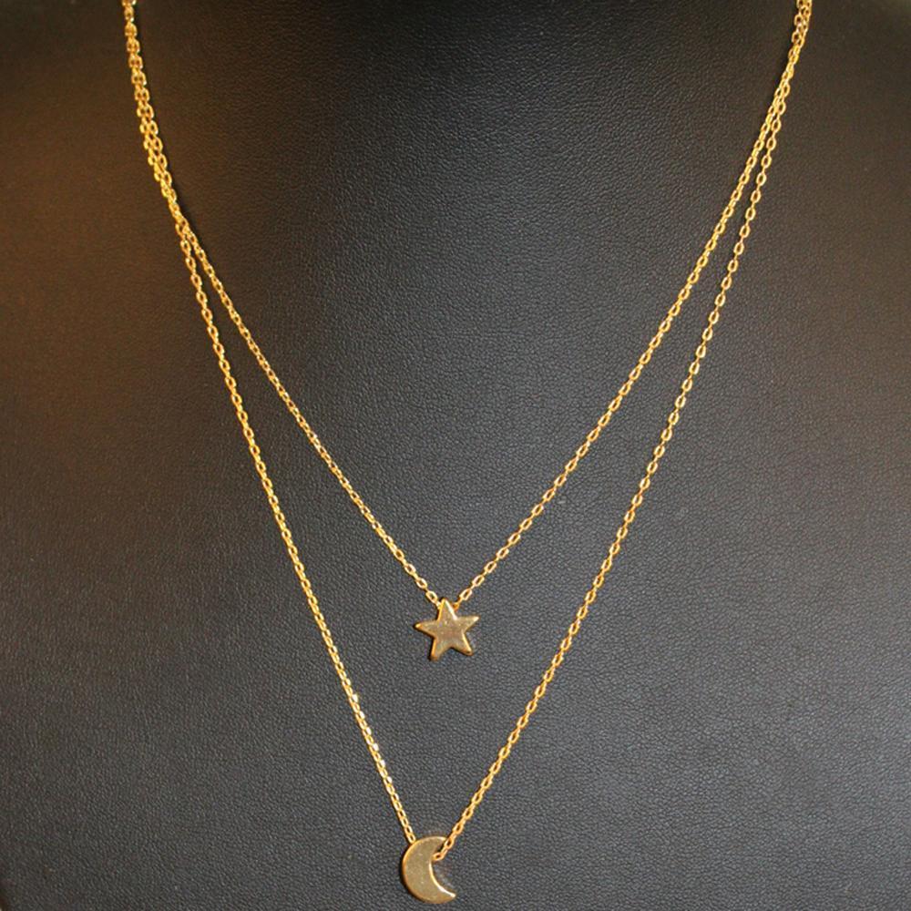 TOMTOSH модные ожерелья Для Женщин 2016 двухслойная цепь Луна Звезда кулон женщины заявление простой Луна ожерелье