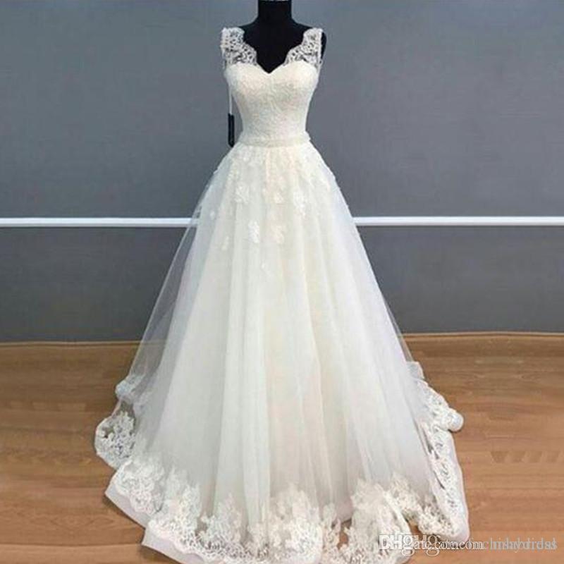 a9f76a143 Compre Corte A Escote Corazón Sin Tirantes Princesa Vestido De Novia Con  Apliques Vestido Sin Mangas Hasta El Suelo Vestido De Novia Con Borde De  Encaje A ...