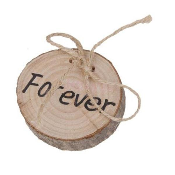 Fede nuziale di legno di vendita calda di Pasqua al log di corteccia di corteccia rurale pristine del supporto della corda della iuta Decorazione rotonda della festa nuziale