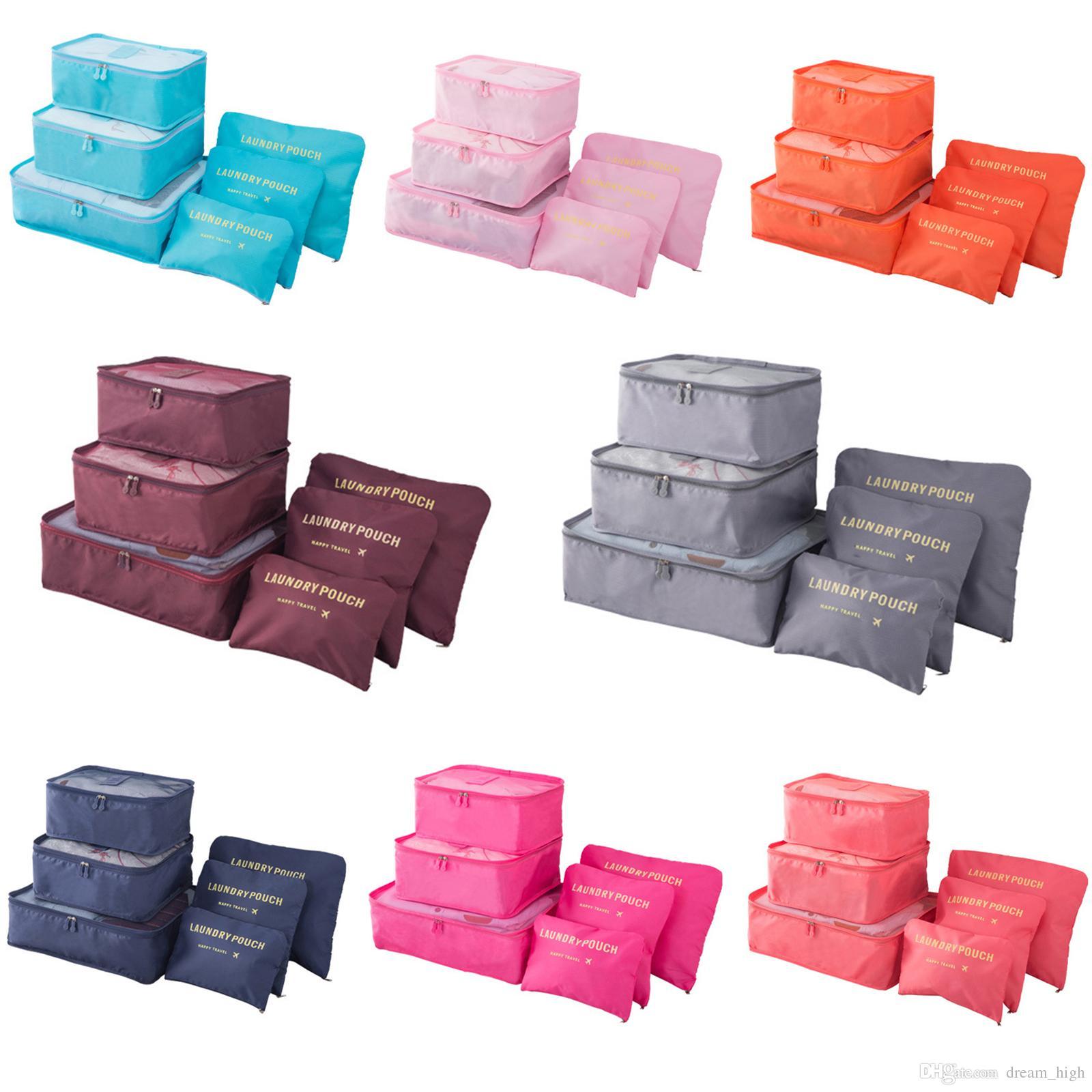 1698b7266 Compre 6 Unids / Set Viaje Bolsa De Almacenamiento De Equipaje Conjunto Para  Ropa Ropa Interior Zapato Bolsas De Cosméticos Bolsa De Sujetador  Organizador A ...