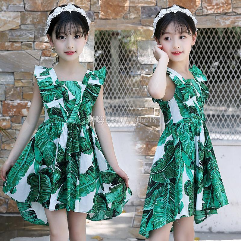 730ff33b1 Compre Boutique 2018 Nuevas Niñas Vestidos Sin Mangas Verde Estampado De  Flores De Algodón Hoja De Loto Falda Plisada Princesa Vestido H122 A $9.83  Del ...