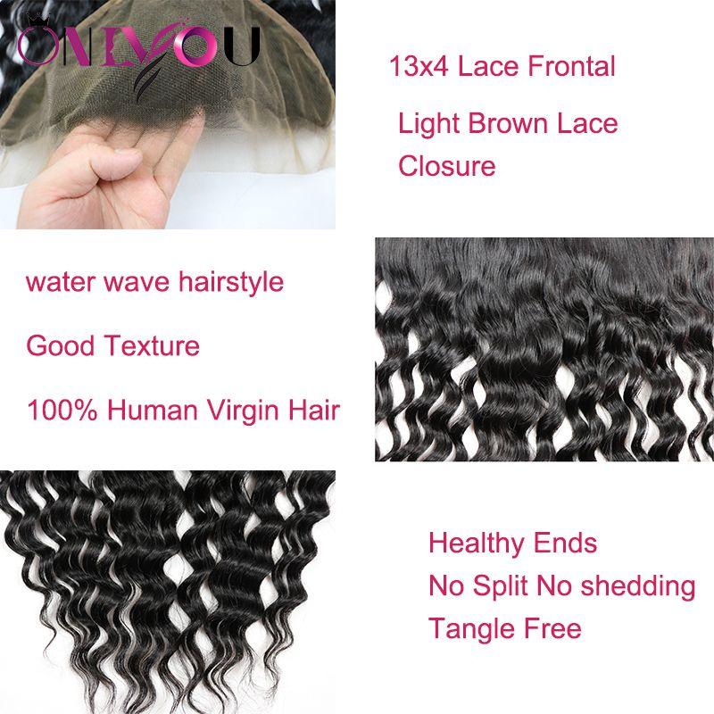 Unprocessed Brazilian Virgin Hair Bundle Deals Water Wave Human Hair with Closure Natural Wave Hair Bundles with Lace Frontal Weaves Closure