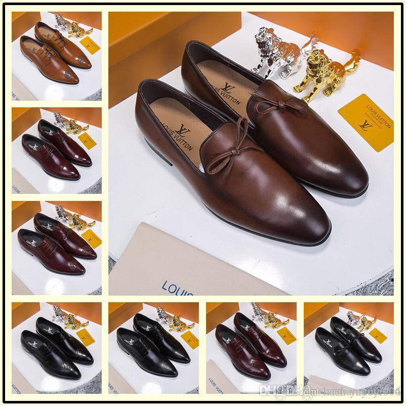 24985ee22f6 2019 New Fashion Italian Designer Formal Men S Dress Shoes Genuine Black  Classic Luxury Wedding Shoes Men Mocasines Shoes For Women Cheap Shoes From  ...