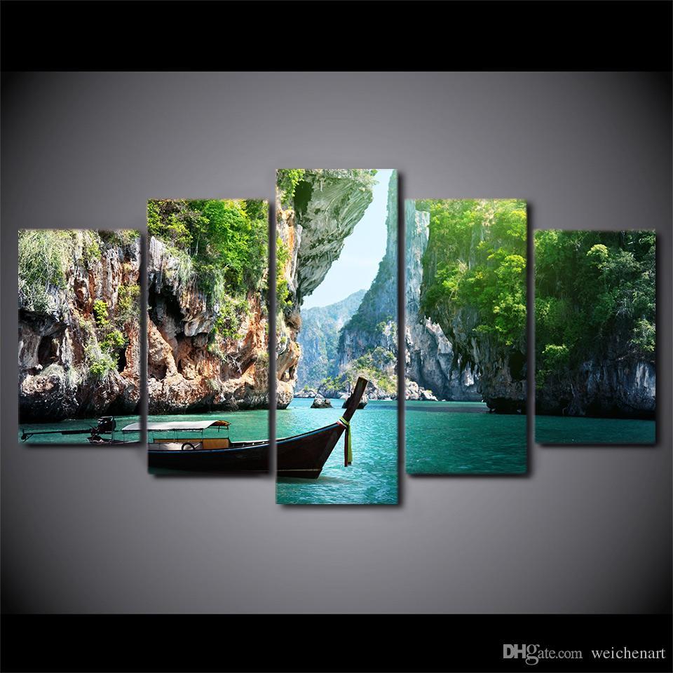 Salon Tekne Poster Ücretsiz Nakliye için Duvar Resimleri Boyama HD Baskılı 5 Adet Tuval Sanat Doğa Canyon Manzara